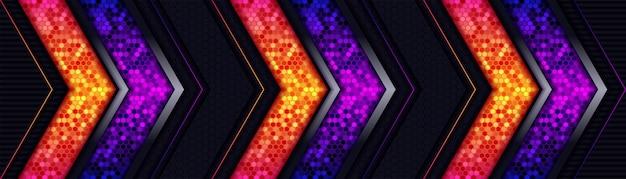 Abstract light hexagon line in dark background
