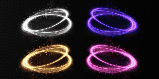 나선형으로 소용돌이 치는 초록 빛 라인 라인 이동의 빛 시뮬레이션