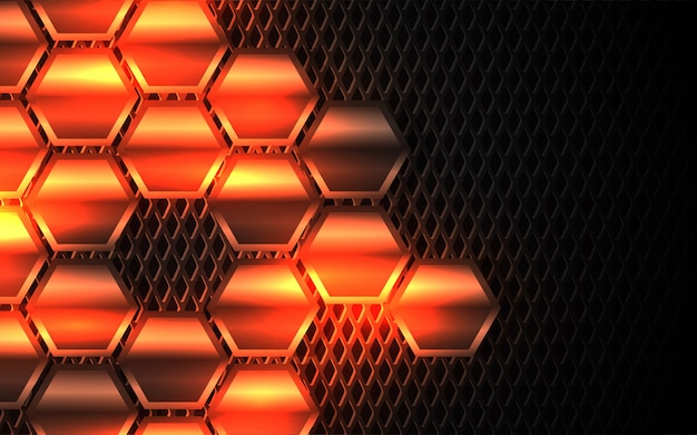 Abstract light metal hexagon shapes background