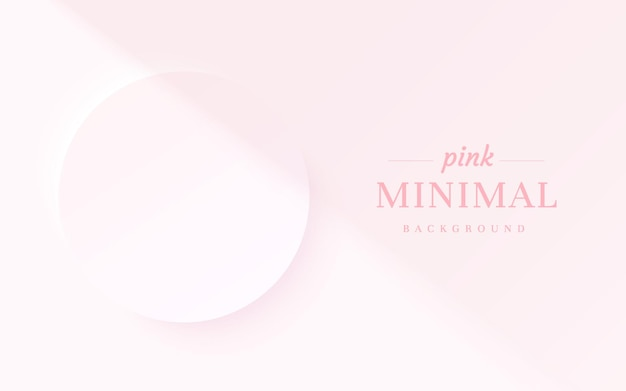 Abstract light pink 3d circle frame backdrop with shadow overlay for cosmetic product presentation