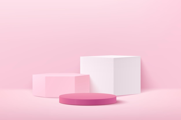 Abstract light pink cube hexagon and round display for product on website in modern.