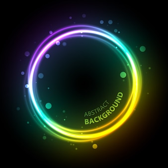 Abstract light with luminescent circle with gradient color overlay blurry bubbles and curvy title text illustration