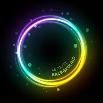 Luce astratta con cerchio luminescente con sovrapposizione di colori sfumati bolle sfocate e illustrazione sinuosa del testo del titolo