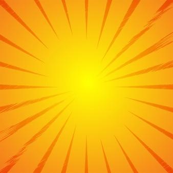 抽象的な明るい黄色の太陽光線の背景。ベクター