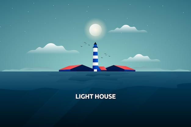 Abstract lighthouse with sea landscape illustration