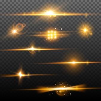 Абстрактные световые блики. вспышки бликов и блеск света. блестящий размытие фона Premium векторы