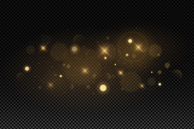Abstract lights bokeh on a dark transparent background.