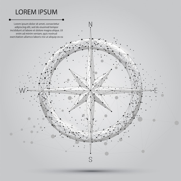 抽象的な線と点のコンパスアイコン。低ポリスタイルの図
