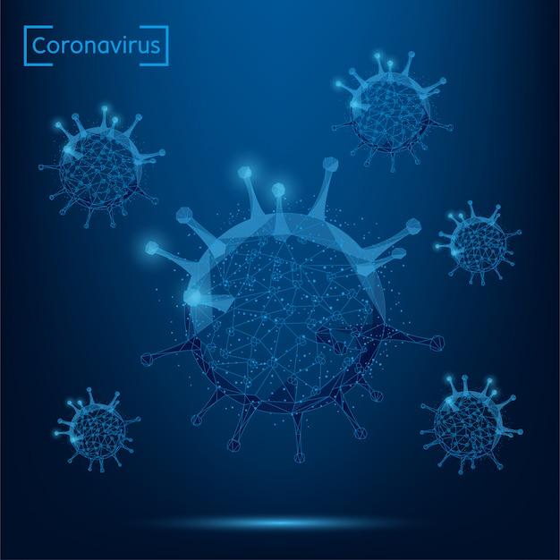 추상 라인과 포인트 코로나 바이러스 셀. 낮은 폴리 면역학, 새로운 균주 전염병, 감염 병원체 일러스트레이션