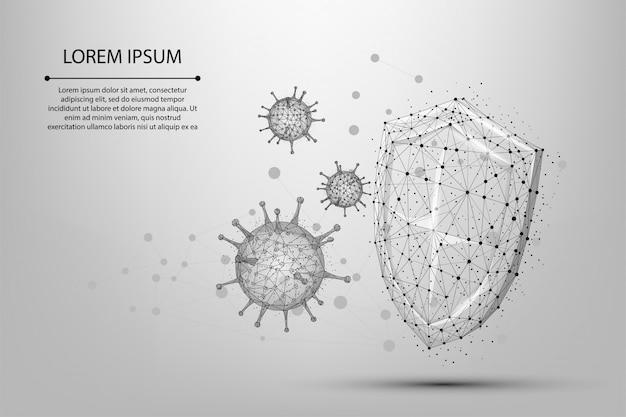 방패 근처 추상 라인과 포인트 코로나 바이러스 셀. 낮은 폴리 면역학, 새로운 균주 전염병, 바이러스 방지