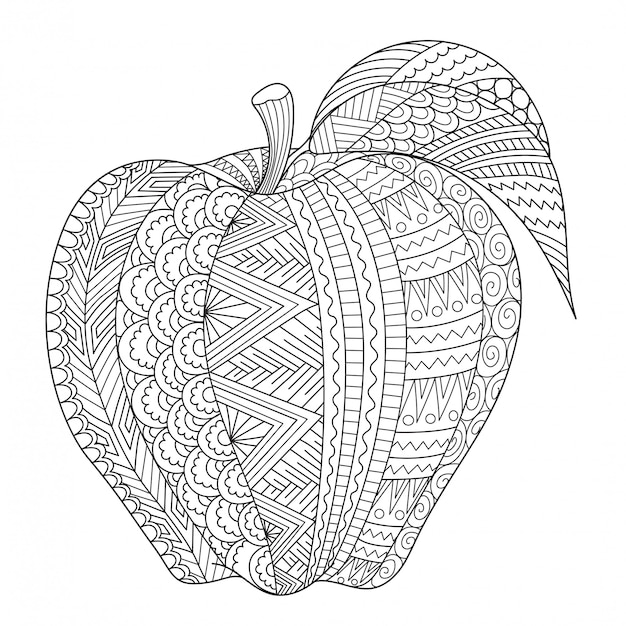 Abstract line art of apple for adult coloring book