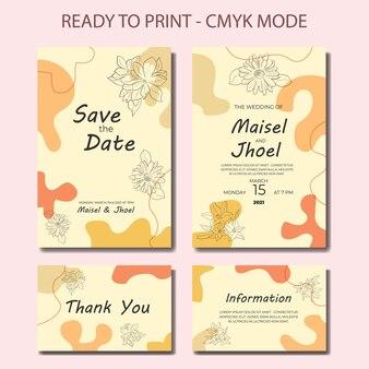 抽象線画花の結婚式の招待状現代ミッドセンチュリー