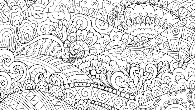 背景、ページの図を着色大人の塗り絵の抽象的なラインアート