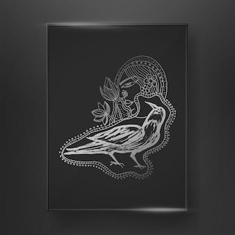 추상 까마귀 새 페인트 브러시 라인 아트와 어두운 배경에 그려진 추상 라인 아트 손