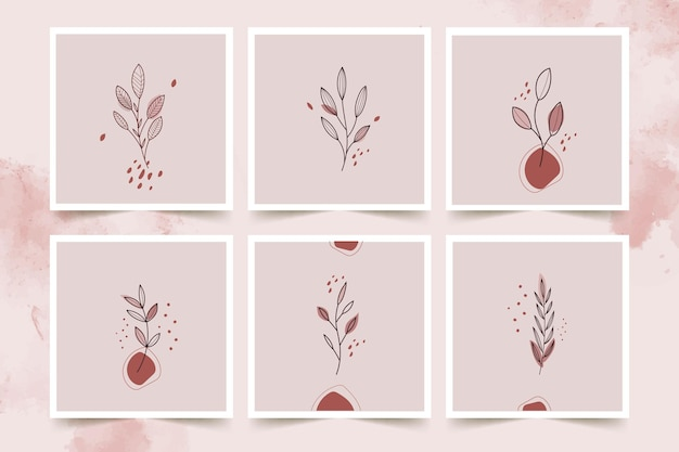 Abstract line art line art flowers  posters set
