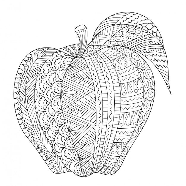 Абстрактная линия искусства яблока для взрослых книжка-раскраска