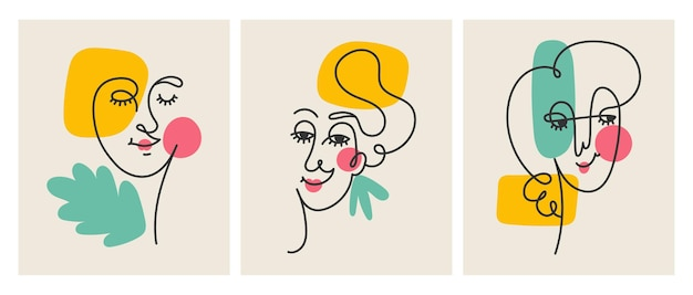 Абстрактное искусство линии женского лица стены искусства украшения