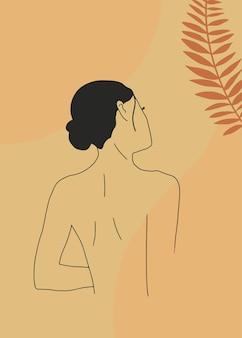 Абстрактная линия искусства плакат с силуэтом женщины тропических листьев линейное женское тело векторная печать