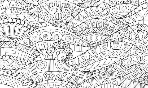 Abstract line art wavy flow for background, adult coloring book, coloring page illustration