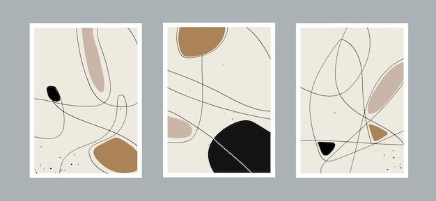 Абстрактный фон искусства линии с различными формами для украшения стены открытки или обложки брошюры