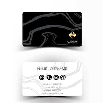 Abstract line black and white business card.