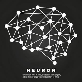 Abstract line brain neural network chalkboard poster design