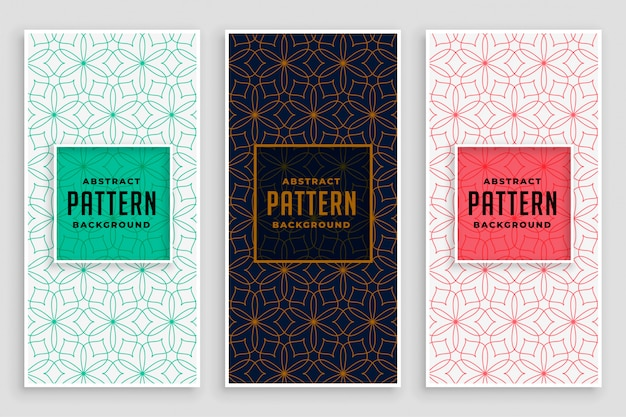 Abstract line florals pattern banner design