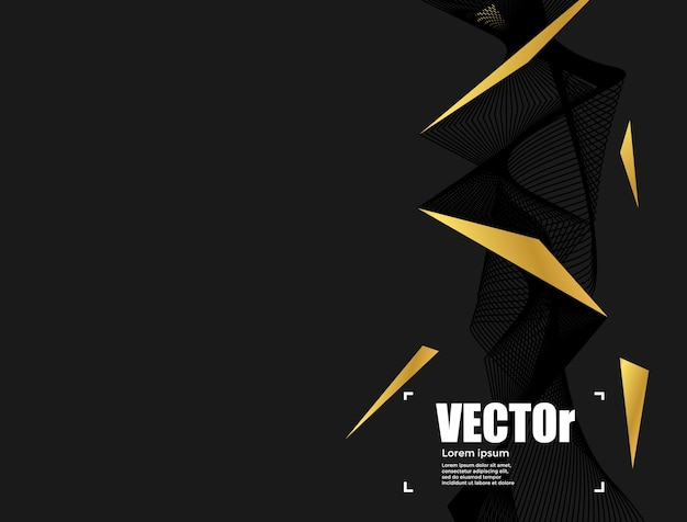 Abstract line gold black background concept graphic design.