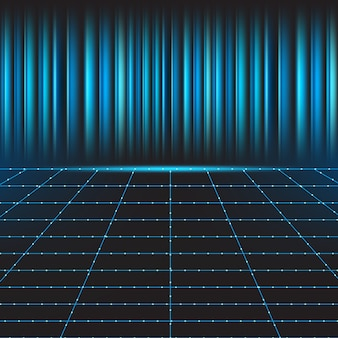 Abstract line grid with blue technology background
