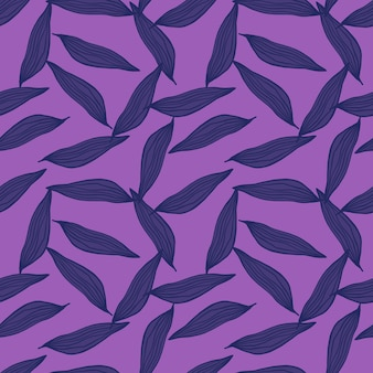 Abstract line leaves pattern on purple background. botanical backdrop. c