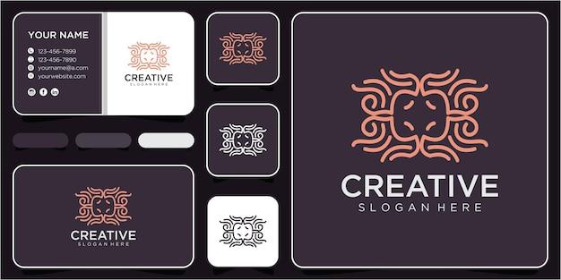 Abstract line logo design concept. monogram logo design with business card