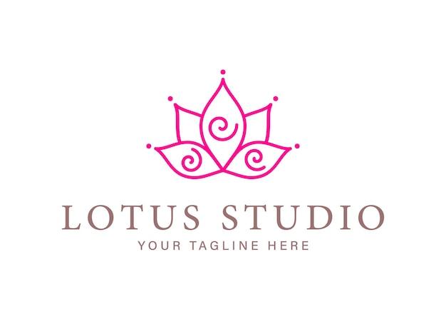 요가 스튜디오 로고 타입 디자인을 위한 나선이 있는 추상 라인 로터스
