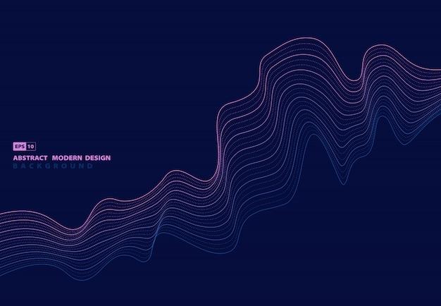 波状の未来的なパターンデザインのアートワークの背景の抽象的な線パターンのアートワーク。