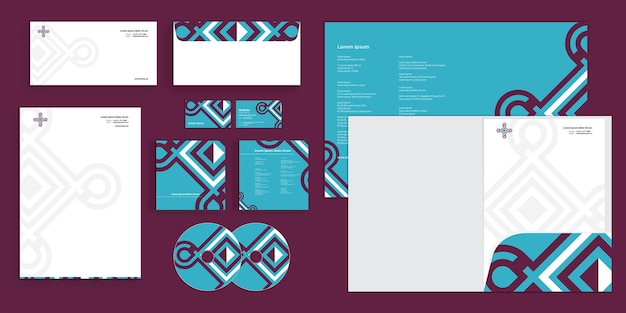 Abstract line pattern modern corporate business identity stationary