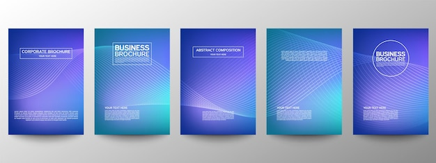 Abstract line pattern of poster design set