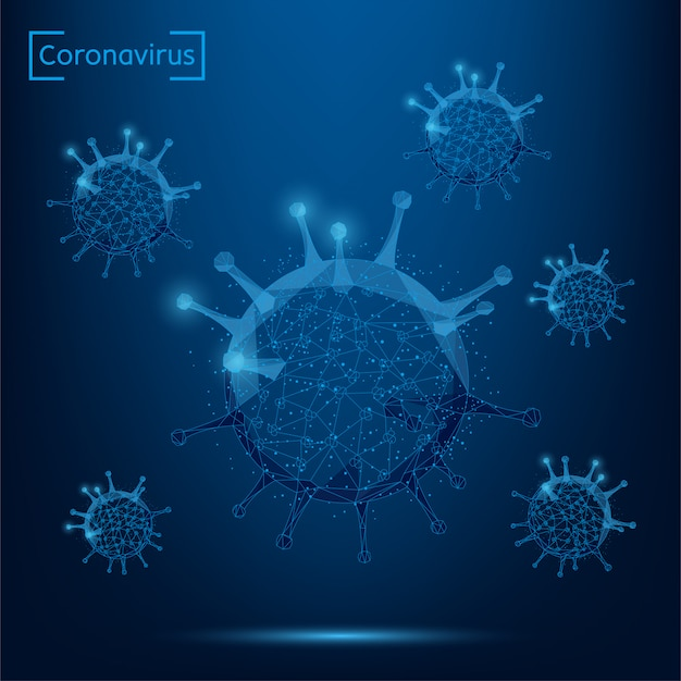 Abstract line and point coronavirus cell. low poly immunology, new strain epidemic, infection pathogen illustration
