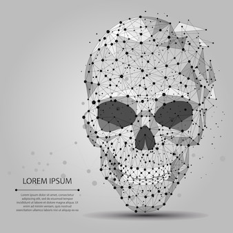 Abstract line and point grey skull