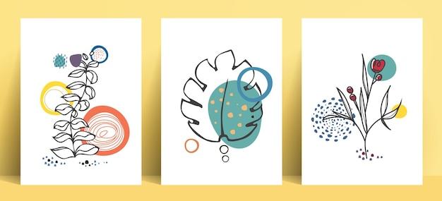 葉と花の要素を持つ抽象的なラインポップアートコレクションボヘミアンスタイル