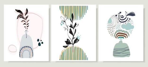 虹と花の要素を持つ抽象的なラインのポップアートコレクションボヘミアンスタイル