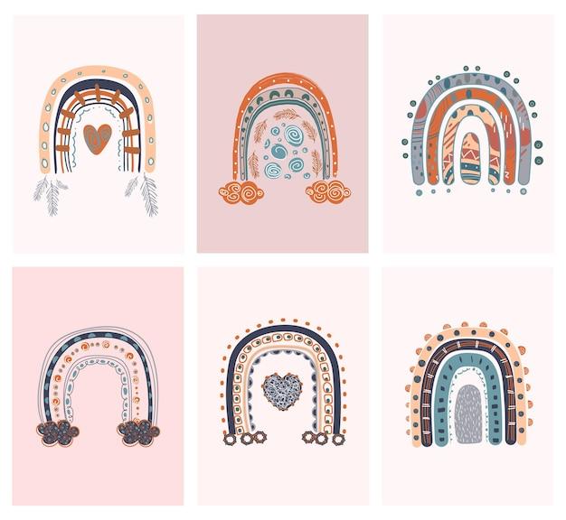 虹の要素を持つ抽象的なラインのポップアートコレクションボヘミアンスタイル