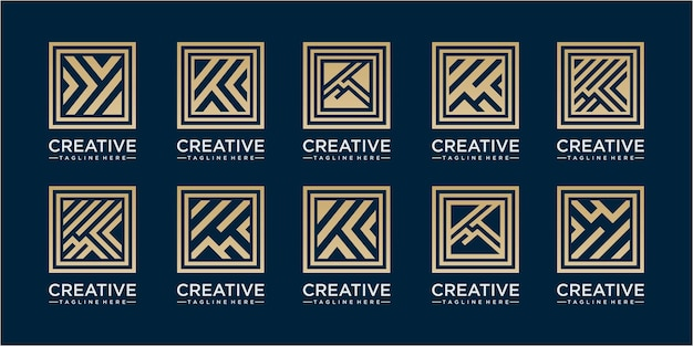 Abstract line square logo design inspirations. set of eight minimalistic trendy shapes. stylish vector logo emblems for your design. simple universal geometric signs collection.