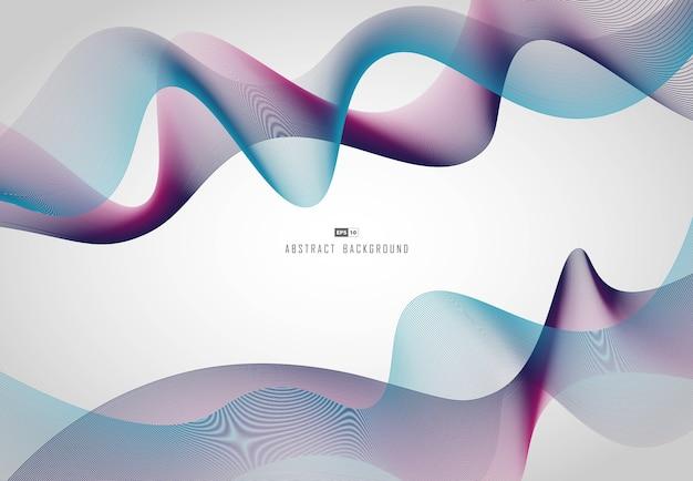 紫と青のグラデーションスタイルの背景の波状の抽象的なラインテックパターン。