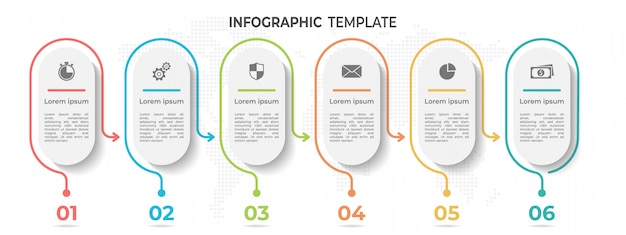 Abstract line timeline infographic template 6 options.