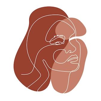 アジアの女性の顔と抽象的なラインウォールアート。現代の連続一線画。壁の装飾のためのさまざまな形のテラコッタ色のミニマリストの壁の芸術。ベクトルイラスト