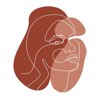 Abstract line wall art with asian women face. modern continuous one line drawing. minimalist wall art with different shapes terracota colors for wall decoration. vector illustration
