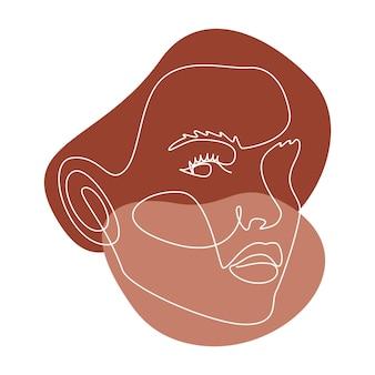 女性の顔と抽象的なラインウォールアート。現代の連続一線画。壁の装飾のためのさまざまな形のテラコッタ色のミニマリストの壁の芸術。ベクトルイラスト