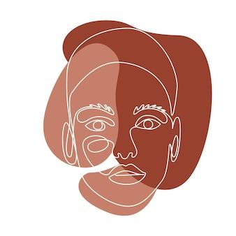 女性の顔と抽象的なラインウォールアート。トレンディな連続単線画。壁の装飾のためのさまざまな形のテラコッタ色のミニマリストの壁の芸術。ベクトルイラスト