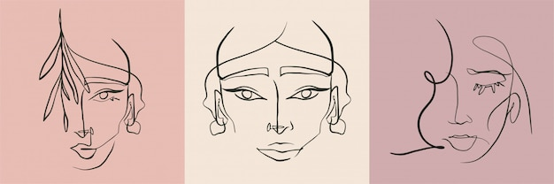 Abstract line woman face collection.