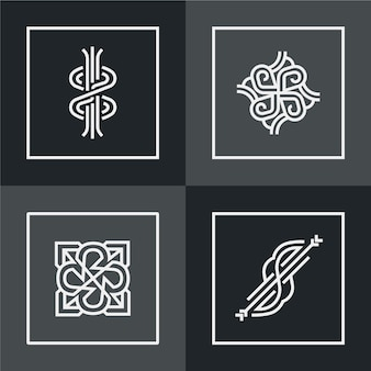 抽象的な直系ロゴコレクションデザイン