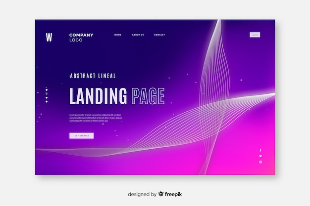Abstract lineal shapes landing page template